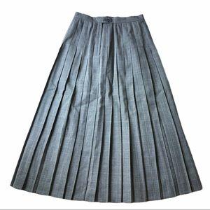 Vintage Grey Plaid Pleated Maxi Skirt